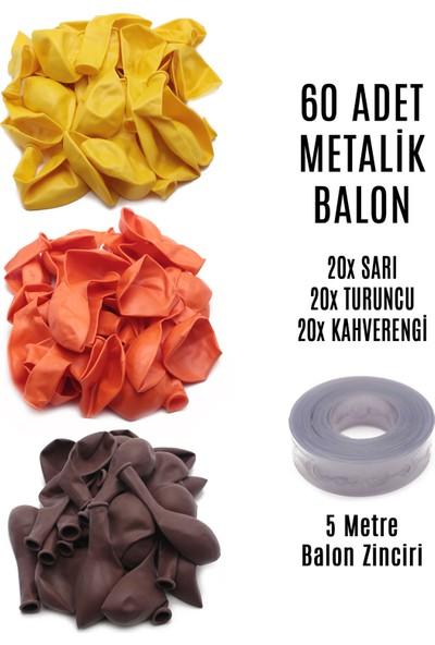 Lora Wedding 60 Adet Sarı - Turuncu - Kahverengi Karışık Metalik Balon + 5 Metre Balon Zinciri