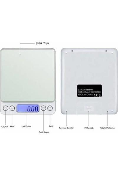 Bydiz Dijital Hassas Elektronik Taşınabilir Terazi Tartı Hassasiyetli 500 gr 0.01 gr