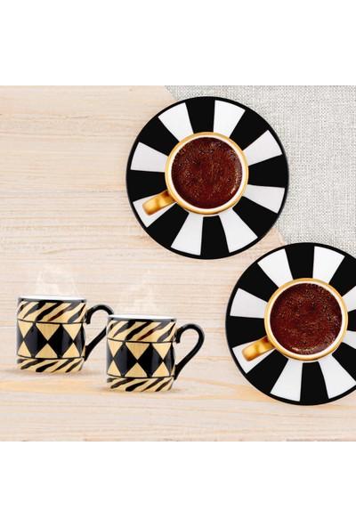 LuckyArt Monteverde El Boyama 6'lı New Bone Kahve Fincan Seti