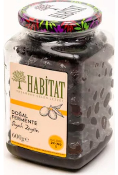 Habitat Doğal Fermente Siyah Zeytin 291-320 Kalibre (S) 600 gr Cam Kavanoz