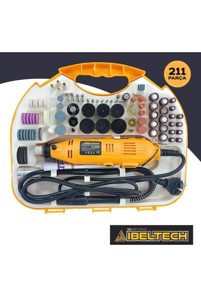 Ibeltech Emsa Gravür Oyma Makinesi Dremel Taşlama Zımpara Kesme Seti 211 Parça+Hortumlu