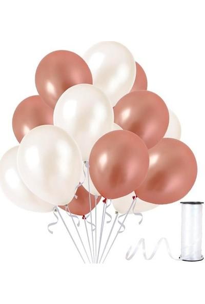 Kullanatparty Rafya 50 Adet Metalik Parti Balonu Rose Gold - Beyaz