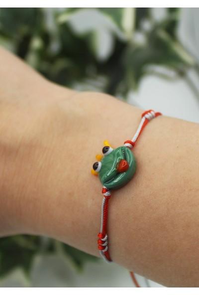 Alberaccessories Murano Cam Sevimli Kurbağa Prens 925 Ayar Gümüş Aparatlı Bileklik