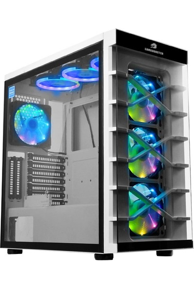 GameBooster GB-PR021BW USB3.0 Full Beyaz Tempered Glass 7xRGB Fanlı Gaming Kasa (PSU Yok) (JBST-GBPR021BW9
