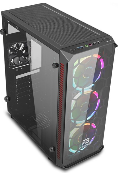 Power Boost VK-C09B USB 3.0 ATX, Tempered Glass, RGB fan, Siyah Gaming Kasa (PSU Yok) (JBST-VKC09B)