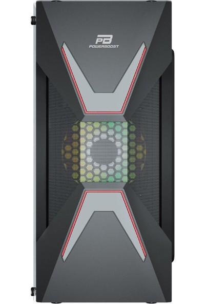 Power Boost VK-G3621C USB 3.0 ATX, ABS Mesh panel, Fixed Rainbow Fan, Siyah Kasa (PSU Yok) (JBST-VKG3621C)