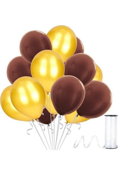 Kullanatparty Rafya Hediyeli 50 Adet Metalik Parti Balonu Kahverengi - Altın