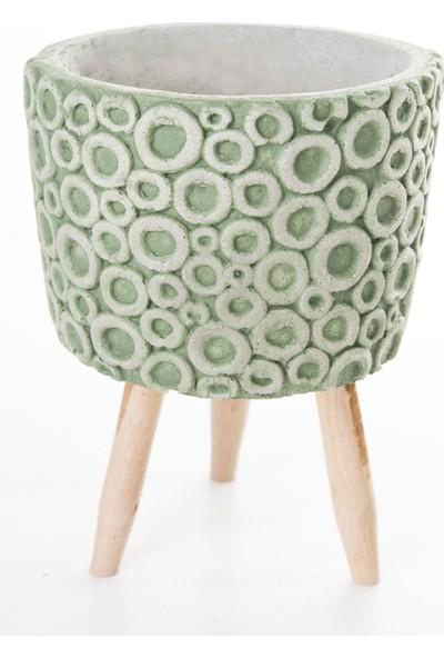 Veramaya Ayaklı Halka Desenli Yeşilı Beton Saksı 12,5X17,5 cm