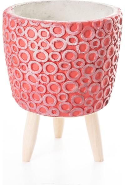 Veramaya Ayaklı Halka Desenli Kırmızı Beton Saksı 14,5X20 cm