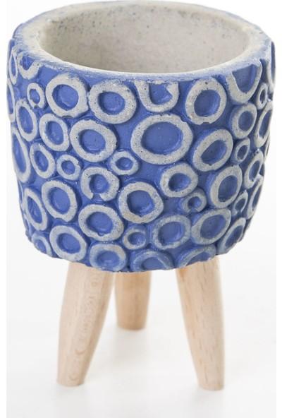 Veramaya Halka Desenli Ayaklı Lacivert Beton Sukulent Saksı 8X11,5 cm