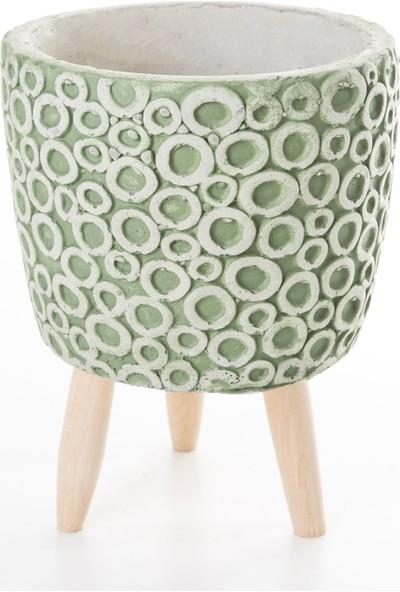 Veramaya Ayaklı Halka Desenli Yeşil Beton Saksı 14,5X20 cm