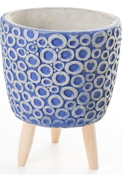 Veramaya Ayaklı Halka Desenli Lacivert Beton Saksı 14,5X20 cm