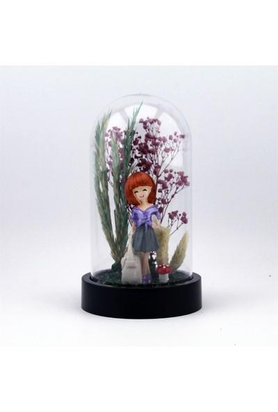 Burdan Eve Kuru Çiçekli Bakır Saçlı Kadın Temalı Teraryum 10X18 cm Burdaneve