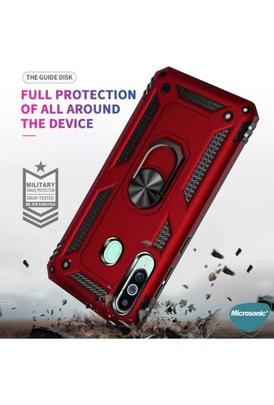 Microsonic Samsung Galaxy M40 Kılıf Military Ring Holder Kırmızı