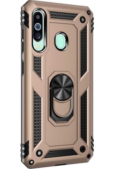 Microsonic Samsung Galaxy M40 Kılıf Military Ring Holder Gold