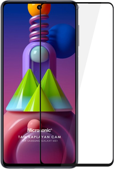 Microsonic Samsung Galaxy M51 Tam Kaplayan Temperli Cam Ekran Koruyucu Siyah