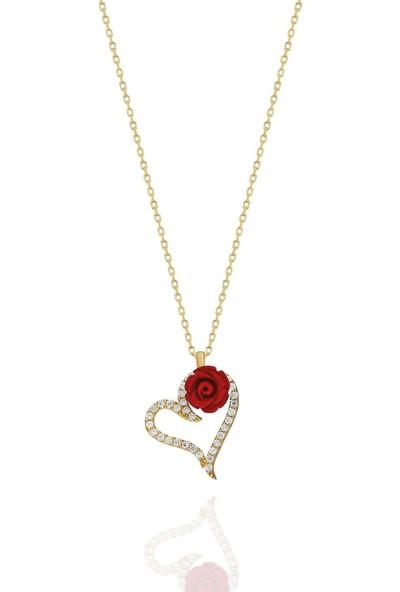 Bess Silver 925 Ayar Gümüş Kırmızı Gül Kalp Altın Kaplama Kolye