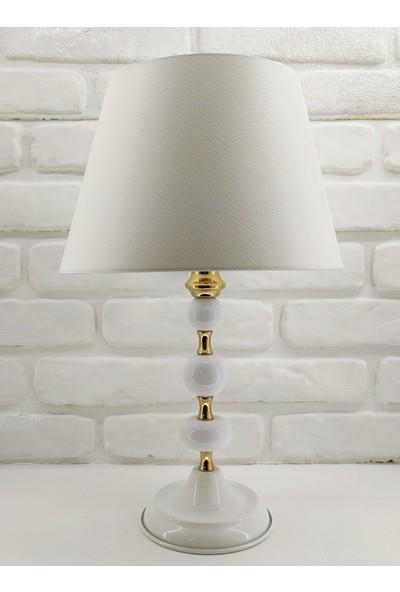365gunserisonu Beyaz Gold Altın Renk Metal Ayaklı ve Toplu 30'luk Beyaz Şapkalı Abajur Masa Lambası