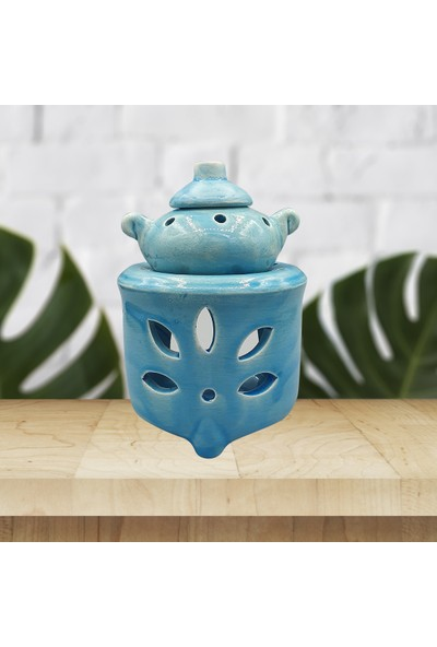 Adelya Life El Yapımı Demlikli Mavi Buhurdanlık Dekoratif Hediyelik