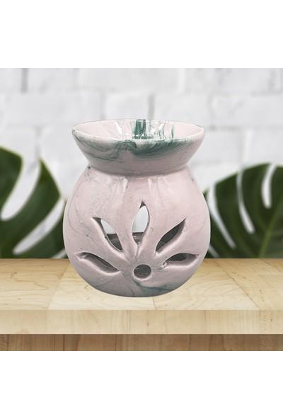 Adelya Life El Yapımı Lotus Yeşil Fırça Desenli Buhurdanlık Dekoratif Hediyelik