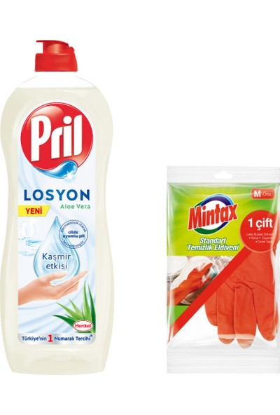 Pril Losyon Sıvı Bulaşık Deterjanı Aloevera 750 ml + Mintax Bulaşık Eldiveni Bir Çift