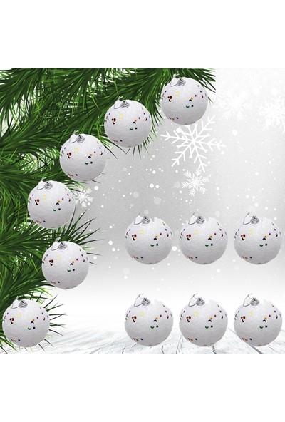Süsle Bebek Parti Yılbaşı Ağaç Süsü Karlı Top, 4 cm - 6 Adet