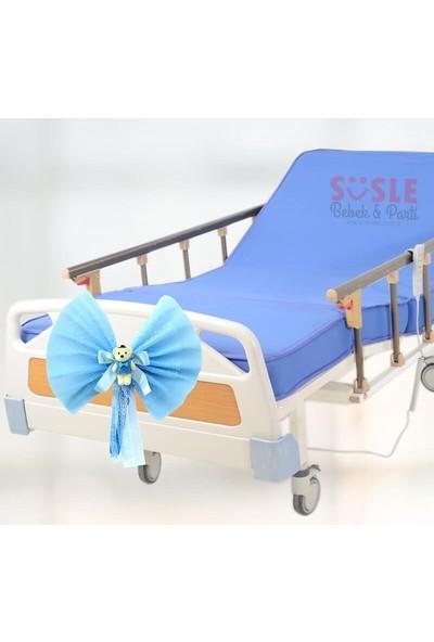 Süsle Bebek Parti Hastane Odası Yatak Ucu Fiyongu, Ayıcıklı Mavi