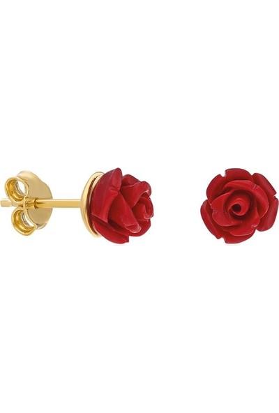 Bess Silver 925 Ayar Gümüş Kadın Altın Kaplama Kırmızı Gül Küpe