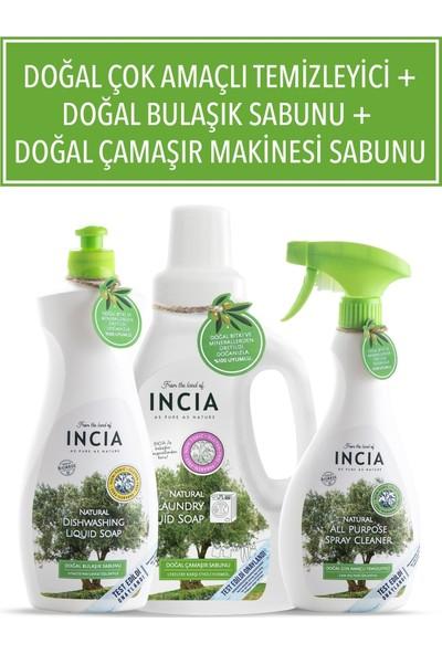 Incia Doğal Çok Amaçlı Temizleyici 500 ml + Doğal Bulaşık Sabunu 500 ml + Doğal Çamaşır Makinesi Sabunu 750 ml