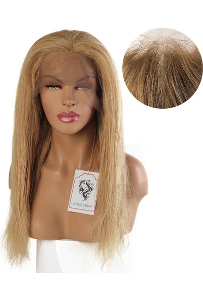 AYTUĞ PERUK % 100 Boyasız Doğal Saç Medikal - Tül Peruk Sarı