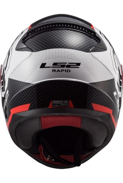 Ls2 Rapid Ghost Beyaz-Siyah-Kırmızı Kask