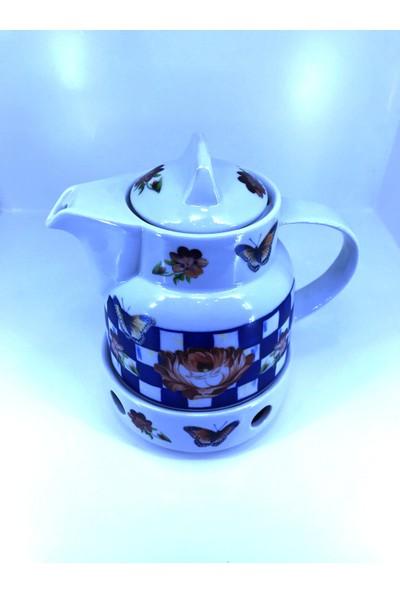 Sudem Nihaleli Porselen Demlik Isıtıcılı Porselen Çaydanlık Alaçatı Desenli Demlik