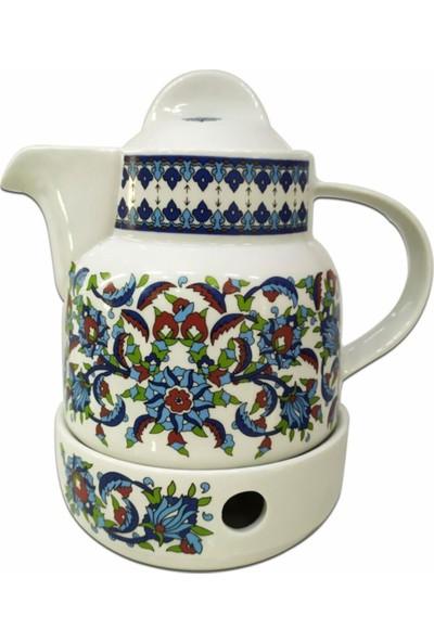 Sudem Nihaleli Porselen Demlik Isıtıcılı Porselen Çaydanlık Topkapı Desenli Demlik