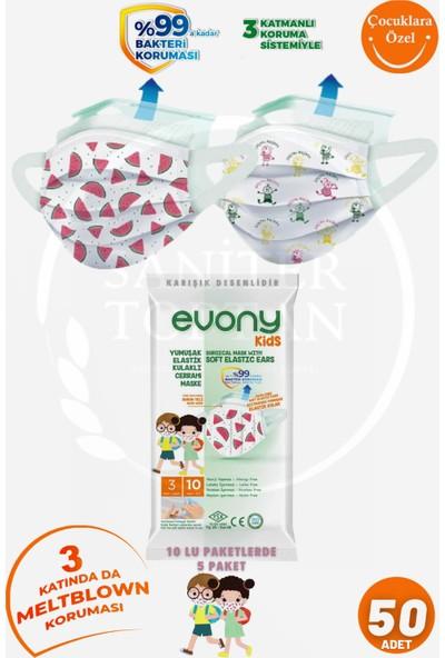 Evony Kids Cerrahi Maske 10'lu 5 Paket = 50 Adet