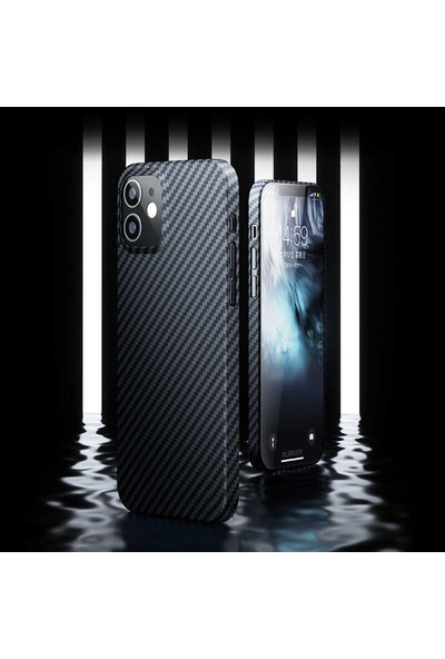 Teleplus iPhone 12 Pro Kılıf Benks Aramid Karbon Desing Silikon Siyah
