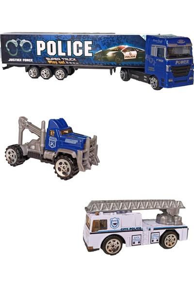 Meva Metal Polis Araçları Seti Tır, Polis Çekici ve Polis Arazi Aracı 3'lü Set