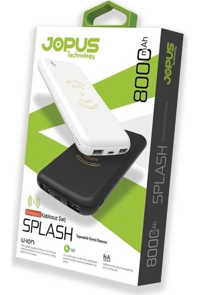 Jopus Splash 8000 mAh Taşınabilir Şarj Cihazı Powerbank Wireless Kablosuz Şarjlı