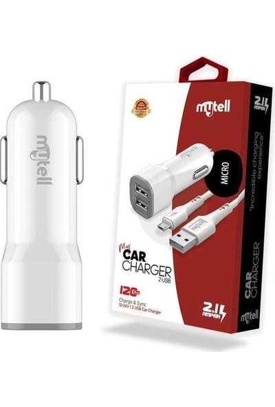 Mytell Çift USB 2.1A Micro USB Kablo Araç Şarj Seti