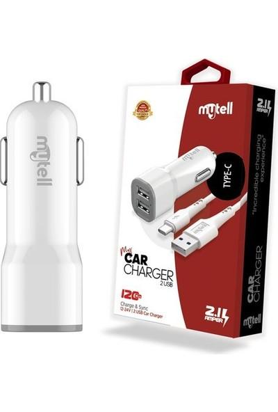 Mytell Çift USB 2.1A Type-C Kablo Araç Şarj Seti
