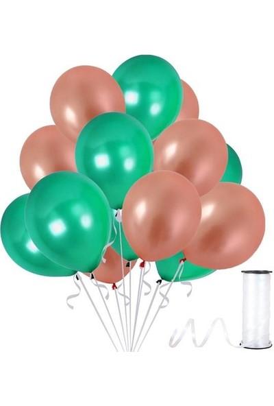 Kullanatparty Rafya 30 Adet Metalik Parti Balonu Rose Gold - Koyu Yeşil
