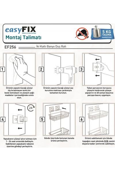 Tekno-tel Teknotel Delme Vida Matkap Yok! Easyfıx Yapışkanlı 2 Katlı Banyo Rafı Mat Siyah EF256