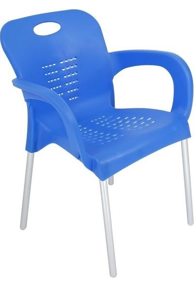 Romanoset Plastik Romanoset Nil Demir Ayaklı Mavi Plastik Kollu Sandalye