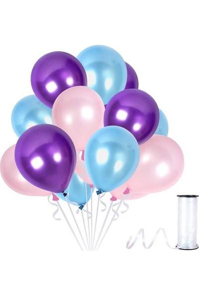 Kullanatparty Rafya Hediyeli 30 Adet Metalik Parti Balonu Mor - Bebek Mavisi - Bebek Pembesi