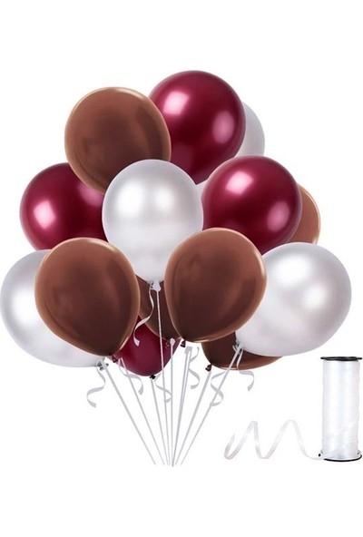 Kullanatparty Rafya Hediyeli 50 Adet Metalik Parti Balonu Kahverengi - Bordo - Gümüş