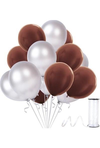 Kullanatparty Rafya Hediyeli 30 Adet Metalik Parti Balonu Gümüş - Kahverengi