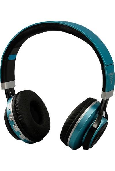 Ximivogue Çok Fonksiyonlu Katlanır Kablosuz Kulaklık-Bluetooth + Fm + Mp3 (T740) (Mavi)