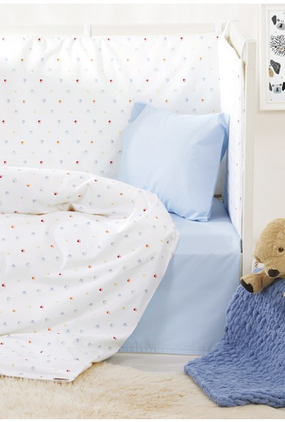 Bade Tasarım Pati Desenli 7 Parça Mavi Bebek Uyku Seti