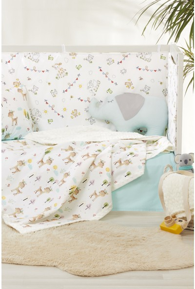 Bade Tasarım Ali Baba' Nın Çiftliği Desenli 7 Parça Polarlı Yeşil Bebek Uyku Seti