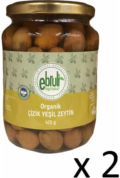 Ebruli Doğal Bakkal Organik Çizik Yeşil Zeytin 420GR (2 Li)