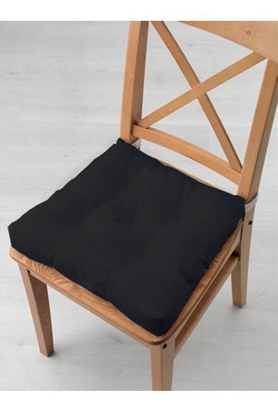 Tezkotekstil 4'lü Kombin Pofidik Kare Sandalye Minderi 40 x 40 cm Siyah-Bej